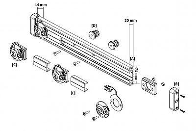 Railblaza Tracport Dash 1000, (1 m) incl. 4 Tracnut Halterungen 03-4105-11