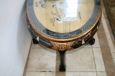 Vintage Asian Black Gold Leaf Mother of Pearl Oval Coffee Table & Five stands 4