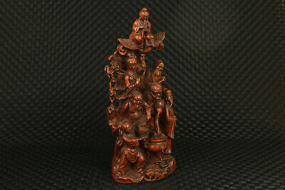 Chinese old boxwood  hand carving Eight Immortals statue noble decoration gift 8