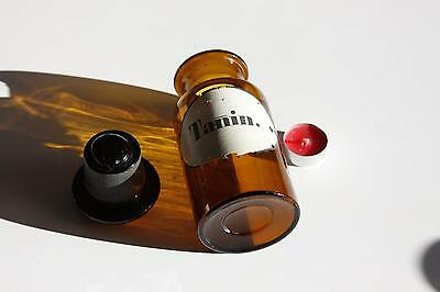 Apothekerflasche, Form selten, rund, alt, TANIN. SCHLIFF STOPFEN breiter