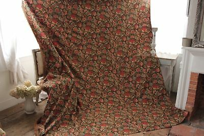 Antique French curtain c1880 heavy w/ fringe trim printed cotton LARGE drape 10