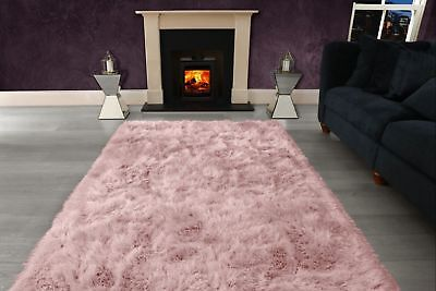 Blush Pink Large SHAGGY Floor RUG Soft SPARKLE Shimmer Extra Thick 9cm Pile 6