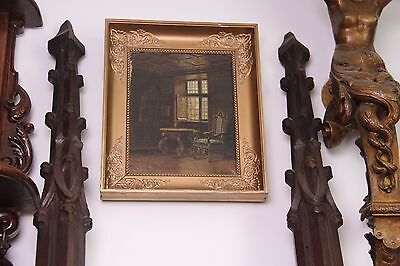 19C French Carved Oak Gothic Columns 3