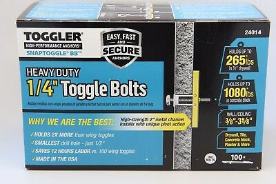 "Toggler Snap Toggle BB  1//4/""  Heavy Duty Strap Toggle Bolts Anchor 24014 100"
