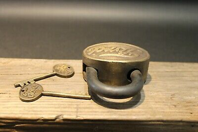 Antique Vintage Style Brass & Iron Trunk Chest Box Ford Lock Padlock 7