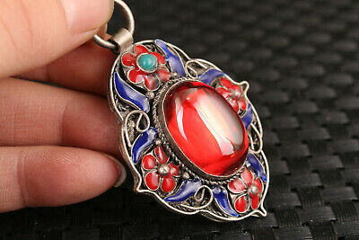 chinese old jade red stone jewel inlay cloisonne tibet silver pendant 3