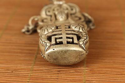Nice tibet silver hand carved flower shou netsuke not snuff box Netsuke 5