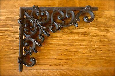 """8 BROWN ANTIQUE-STYLE 9"""" SHELF BRACKETS CAST IRN rustic garden VINE FLEUR DE LIS"""