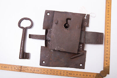 Antique Vintage Extremely Rare Door Mortice Key Lock Gate Collectable Forged 7