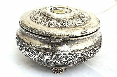 Vintage Arabian Military Silver Plated Box Coat of Arms Soldier Army Islamic