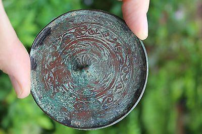 Genuine Islamic Persian Middle Eastern bronze mirror, circa 900-1100 AD
