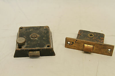 "Antique Architectural Salvage Brass Door Lock & Brass Pulls Original 3 3/4"" Key 8"