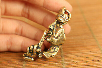 copper casting wise man listener statue pendant netsuke collectable ornament 2