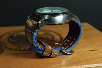 Correa Reloj Genuino Cuero Vintage Apta Panerai Etc Ma Strap Colorum Marron Azul 4