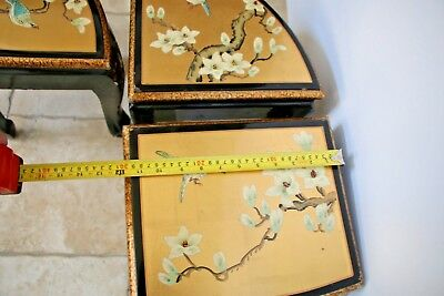 Vintage Asian Black Gold Leaf Mother of Pearl Oval Coffee Table & Five stands 10