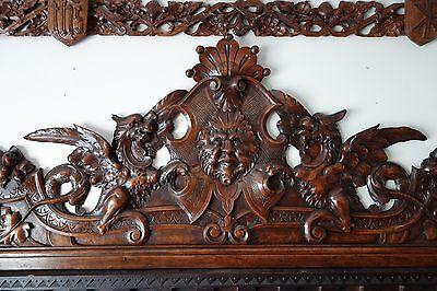 19C Venetian Gothic Fantasy Carved Oak Winged Dragon/Griffin/Gargoyle Pediment 4