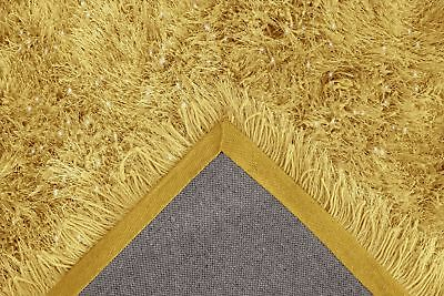 Ochre Yellow Large SHAGGY Floor RUG Soft SPARKLE Shimmer Extra Thick 9cm Pile 8