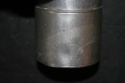 Antique Chinese Pewter Tea Caddy Engraved Dragon & Bird Design Kut Hing Swatow