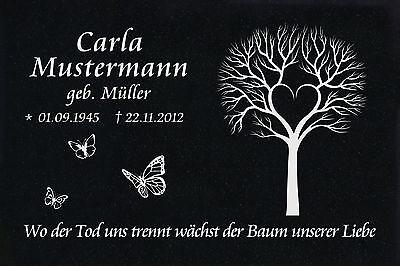 Grabstein Grabplatte Grabmal Wunsch Gravur + Doppelstütze aus Granit 30x20x1 cm 9