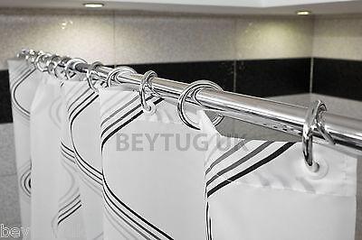 Tropik home Extendable Spring Loaded Shower Curtain Pole//Rod//Rail 190-300cm White