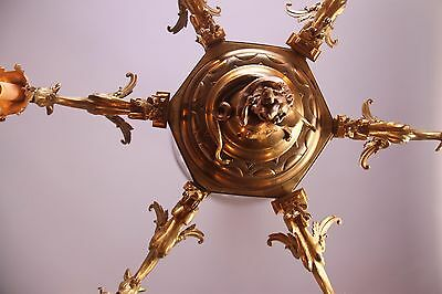 Vintage French Gothic Fantasy Winged Dragon/Griffin Bronze Castle Chandelier 12