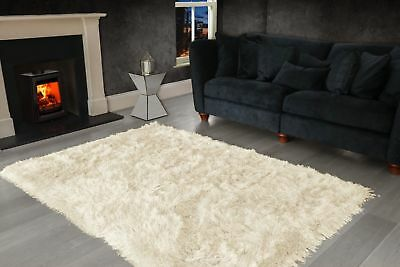 Ivory Cream Large SHAGGY Floor RUG Soft SPARKLE Shimmer Extra Thick 9cm Pile 6