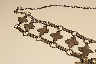 Rare Post Medieval Unique Hand Made Low Sample Silver Necklace With Crosses 11