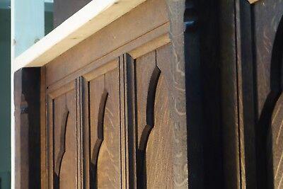 19C English Gothic Carved Tiger Oak Church Organ Wall Door&Original Hardware 12