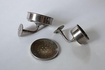 antique bathroom cup soap holder | vtg brass nickel victorian bath tumbler 2