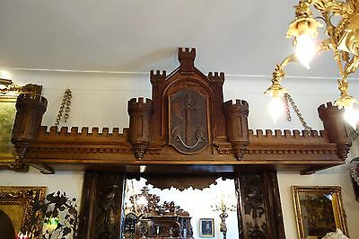 19C English Gothic Carved Oak Castle/Battlement Architectural Fantasy Pediment 2