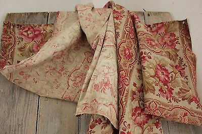 Fabric Antique Floral French printed cotton circa 1860 twill weave muted tones 9