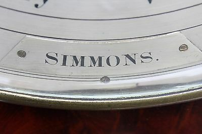 "Antique rare 12"" dial two glass barometer signed SIMMONS"