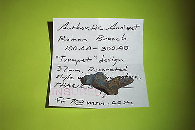 SUPERB Ancient ROMAN TRUMPET BROOCH blue patina jewelry fibula artifact antique 5