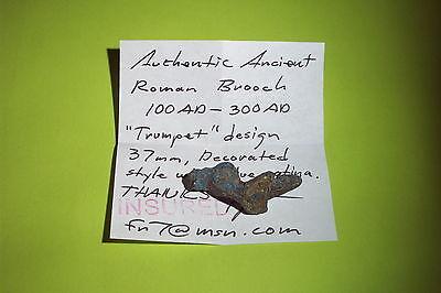SUPERB Ancient ROMAN TRUMPET BROOCH blue patina jewelry fibula artifact antique 5