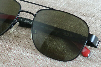 Tumi Vasco Mens Carbon Fibre Polarized Sunglasses Black & Red Festival Classics 5