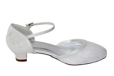 Frabe ivory HBH Satin Brautschuhe,innen ausgepolstert,Lederriemchen,3cm Absatz