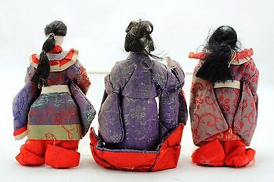 3x antique Hina Ningyo, Japanese Doll, Court Ladies, Gofun Glass eyes Open mouth 2