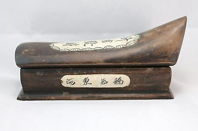 Vintage Chinese Carved Wood Inlaid Stamp Box 3