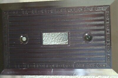NOS Vintage Bakelite Single Wall Switch  NOS Switchplate Art Deco brown 3