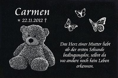 Grabstein Grabplatte Grabmal Wunsch Gravur + Doppelstütze aus Granit 30x20x1 cm 10