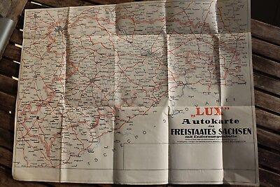 28534 Lux Auto-Karte Sachsen mit Entfernungstabellen 1935 Landkarte GOTHAER Köln