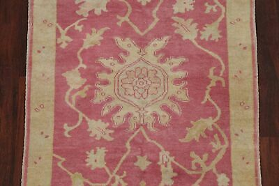 Antique Look PINK Oushak Egyptian All-Over Rug Vegetable Dye Hand-Knotted 3'x5' 4