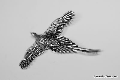 Wings Spread Pheasant Pewter Brooch Pin - British Artisan Signed Badge - Hunting 2