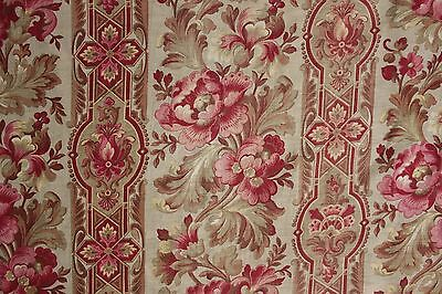 Fabric Antique Floral French printed cotton circa 1860 twill weave muted tones 10