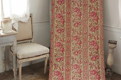 Fabric Antique Floral French printed cotton circa 1860 twill weave muted tones 5