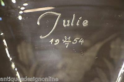 Big mid century Scandinavian art deco vase signed Julie engraved ornate antique 7