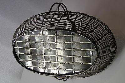 Korb mit Henkel geflochten, Metall, sehr schönes Muster 40er 2