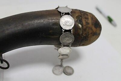 Antique Authentic Hand Made Charming Silver Coins Woman Chain Bracelet. 2