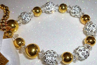 White Silver Shamballa Bow Crystal Bling Baby Romany dummy pacifier clip chain
