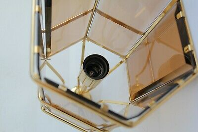 Swedish Rare ceiling vintage brass  faceted smoke glass VINTAGE  LAMP Mark Slöjd 8